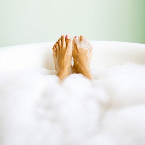 Relax with a bubble bath
